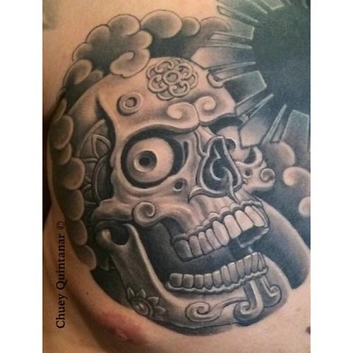 3cf8272c47f9f Healed Aztec skull #tattoo #DeersEyeStudio @deers_eye_studio #ChueyQuintanar  #Art #Tattoos #