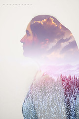 Self Portrait ({Lindsey M Photography}) Tags: trees portrait girl clouds self canon exposure 85mm sigma double hutterite 5dmii
