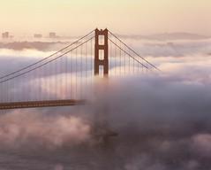 Growing Fog at Dawn (RZ68) Tags: morning bridge light sea color tower film fog clouds sunrise dawn golden bay gate san francisco pastel south marin low foggy