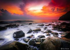Fire in the Sky (kijimuna.) Tags: sunset sea sky seascape beach rock japan canon wave  okinawa      eos6d