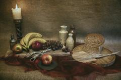 Harvest Table (Sh4un65_Artistry) Tags: stilllife painterly fruit bread digitalart stoneware topaz paintedphoto topazimpression