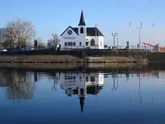 Norwegian Church (Capt' Gorgeous) Tags: mist church water fog waterfront cardiff norwegian cardiffbay