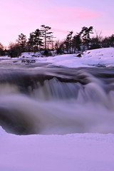 Frosted Gallantry - Burleigh Falls (AZ Imaging) Tags: winter sunset lake snow ontario canada cold ice water waterfall rocks peace power cottagecountry charm zen current forests kawarthalakes burleighfalls ontariotour ontariotravel azimaging