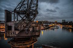 Number 32..... (Dafydd Penguin) Tags: city uk light england urban night port bristol landscape harbor town dock nikon industrial harbour crane dusk centre shed floating historic m 20mm af nikkor viewpoint 32 d600 f28d