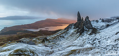 The Old Man of Storr (Rory Marland) Tags: winter snow skye water clouds sunrise canon landscape scotland rocks isleofskye wind f11 firstlight oldmanofstorr storr 1635mm 600d