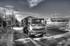 Recycling (sidibousaid60) Tags: uk blackandwhite bw blancoynegro truck buxton derbyshire lorry hdr photomatix tonemapped tonguelaneindustrialestate