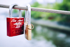 Bound (Alexander J. Wright) Tags: street camera red color colour macro green love 35mm river happy photography gold nice couple colorful flickr pretty fuji sweet bokeh lock geometry perspective thoughtful streetphotography australia melbourne cable valentine romance best explore romantic fujifilm colourful lovely padlock valentinesday decisivemoment thirds primelens vsco vscofilm vscocam x100t
