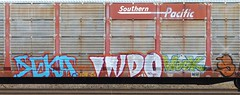 SEKA INDO WOOK (us301Retro) Tags: railroad bench graffiti paint ns railcar boxcar bomb indo traingraffiti southernpacific trainart autorack wook seka railcargraffiti
