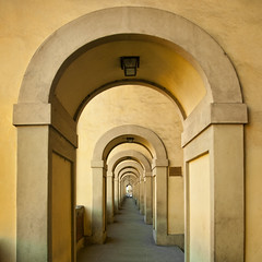 Italy - Florence - Vasari Corridor arcade_sq_DSC8787 (Darrell Godliman) Tags: italy florence italia arch squares perspective arches symmetry tuscany symmetrical firenze archway toscana sq sqaureformat bsquare vasaricorridor italyflorencevasaricorridorarcadesqdsc8787