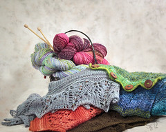 Hand Spun Lace Shawls (SallyPapin) Tags: socks scarf lens cozy rainbow knitting colorful warm soft lace yarn spinning shawl needles graceful throw stacked spun flattering