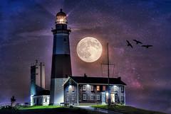 Moon Over Montauk (NYRBlue94) Tags: ocean county new york moon lighthouse ny composite museum night way stars point island suffolk long atlantic full galaxy moonlight montauk milky hdr supermoon
