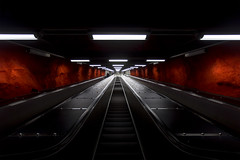 The red way (Larson.patrik) Tags: red black contrast train canon dark underground subway europe stair sweden stockholm escalator canon6d