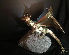 Western Dragon -Shuki Kato (Kraft 90cm x 90cm) folded by me (yurigami88) Tags: origami dragon kraft drago dobradura westerndragon golddragon complexorigami shukikato westerndragonv3 origadores