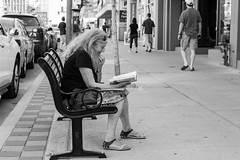 #31/52: a good read, uptown Toronto candid (PJMixer) Tags: 52weekproject bw fuji summer toronto candid dogwood31 dogwood52 people street uptown