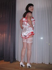 Silky bum (Paula Satijn) Tags: sexy hot teddy satin silk shiny gurl tgirl transvestite playsuit stockings lace bow white red happy smile legs pumps heels highheels girl stockingtops