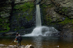 Across the Water (SunnyDazzled) Tags: deerleap falls waterfall childspark delawarewatergap pennsylvania portrait man water pool shore cliffs photographer photography tripod backpack hiking summer
