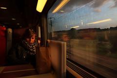 Dans le train (OXOlaterre) Tags: sunset coucher soleil lumire train eurostar