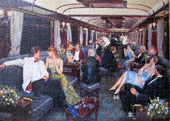 The Bar Car-Venice Simplon-Orient-Express (pefkosmad) Tags: jigsaw puzzle hobby leisure pastime 1000pieces missingpieces art painting terencecuneo thebarcarvenicesimplonorientexpress gibsons