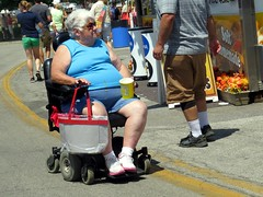 Granny had a snack and left a little on her belly. (kennethkonica) Tags: indianastatefair people persons fairs outdoor colors marioncounty midwest america usa canonpowershot canon indiana indianapolis indy festival festive fun summer kennethkonica sit sitting seat seated granny grandma whitehair old wheelchair papercup glasses mature overweight obese fat bigbelly belly