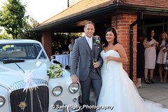 Just married - Leanne & David - 17th September 2016 (Sam Rigby Photo) Tags: bride wedding dress bouquet hand tied groom mens grey suit button hole vintage car classic eccleston park golf club photography photographer female sam rigby day marriage love champagne