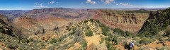 First Sight Of The Grand Canyon Panorama (Geraldine Curtis) Tags: southrim grandcanyon arizona palaeozoic rocks outcrop coloradoriver red green
