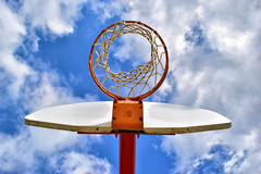 Lofty Goals (slammerking) Tags: basketball goal bluesky clouds colorful up perspective backboard net