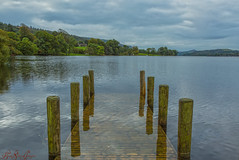 Coniston Jetty (LindaShaws Images) Tags: conistonwater jetty water lake lakedistrict wooden posts cumbria reflection landscape englishlandscape canon5d boardwalk