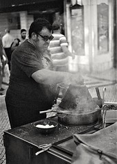 The Chestnut Cooks - Part 2 (czuerbig) Tags: baixa iso100 leicam6 lissabon silvermax silvermax100 summicron5020 people urban streetphotography street cooking
