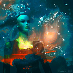 The Starman's Wife (Lemon~art) Tags: woman mannequin stars night sky trees silhouette texture photomanipulation starmanswife crab scorpion fish scorpio pisces cancer astrology