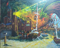 SMAUG (tomas491) Tags: oilpainting tomasljunggren thehobbit smaug dragon drake people laketown sea fire boats seagulls lighthouse drawing jrrtolkien tolkien