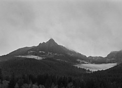 McClellan Butte (bac1967) Tags: county camera red bw white black film lens stand washington king graphic delta semi filter cascades mcclellan wa 4x5 crown 100 rodinal press cascade ilford 135mm 1100 bute semistand adonal optar