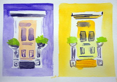 Doors, by Luciana - DSC08172-001 (Dona Mincia) Tags: art watercolor painting paper doors arte study pintura portas aquarela