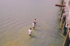 dive (F-CHYLD) Tags: ocean old bridge people holiday men beach wet water swim walking bay three sand salt dream sunny roadtrip off adventure explore flats wodden
