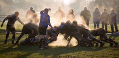 steaming (barksworld) Tags: sunlight mud audience rugby union steam pack scrum amature