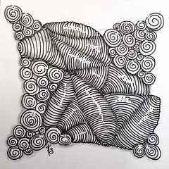 "#zentangle 2015-022, ""One Zentangle A Day"" day 5 where I learned isochor and printemps (again) and adding sparkle to tangles (which needs practice). (kurki15) Tags: square squareformat zia zentangle ozad zendoodle iphoneography instagramapp uploaded:by=instagram zentangleinspiredart 2015zentangleaday 2015zenjan"