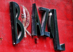 1 Brazil Sign with a Red Wall (Mertonian) Tags: red brazil urban black art sign wall canon 1 with decay rustic creative powershot faded abandon exposed useful mertonian sx50hs canonpowershotsx50hs robertcowlishaw 1brazilsignwitharedwall