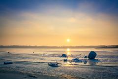 Sunset (Gravydas L.) Tags: winter sunset sky sun snow color ice canon lens eos colorful lagoon kit lithuania kaunas lietuva 1000d