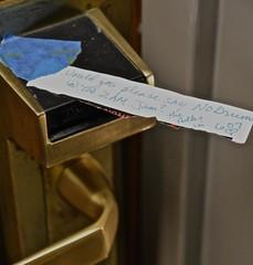 A Note From the Folks in 607 (ricko) Tags: door handle lock note hotelroom westinhotel nodrumsat200amjam thefolksin607