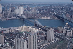 Aerial view of Brooklyn Heights and Dumbo with Brooklyn Bridge, Manhattan Bridge and East River 1982 (NYCEDC) Tags: brooklyn dumbo brooklynheights brooklynbridge manhattanbridge eastriver lowermanhattan nycwaterfront nycedc newyorkcitywaterfront edcportstransportation