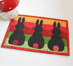 Twilight Rabbits Mug Rug (The Patchsmith) Tags: rabbit bunny easter pattern placemat applique mugrug patchsmith