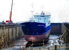 Scotland Greenock cargo ship Lysblink Seaways in dry dock with men inspecting damage to her bow 16 March 2015 by Anne MacKay (Anne MacKay images of interest & wonder) Tags: by anne march scotland greenock dock ship picture dry cargo mackay 16 2015 seaways lysblink