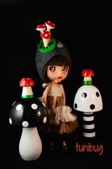 Shrooms (tunibug) Tags: mushroom doll helmet frock blythe junebug frilly blablablythe