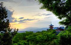 Sunset over Kiyomizu-dera (ap0013) Tags: sunset sun kiyomizudera landscape buddhist temple kyoto japan buddhisttemple kyotojapan hdr beautiful kytoshi kytofu
