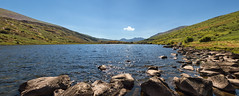 I wandered lonely as a cloud... (jaygilmour11) Tags: capel curig wales panoramic lake water cloud trees hills landscape nikon sigma sky sun rocks uk