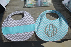 Baby Boy Gift Set (J Taylor Quilts) Tags: baby boy bibs monogram embroidery chevron