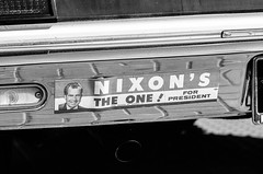 Good Old Days? (LXG_Photos) Tags: film monochrome car 60s sticker politics nixon bumper escondido cruisingrand