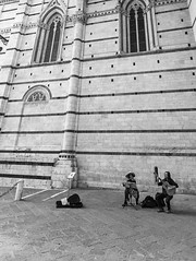 Two piece concerto in Sienna (CamSummers) Tags: travel vacation two portrait people blackandwhite bw italy monochrome landscape concert guitar sienna flute tuscany duomo piece renaissance eos7dmarkii