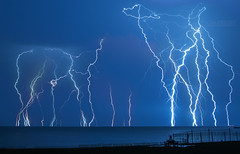 Lake St. Clair Lightning (Cale Best Photography) Tags: lightning storm windsor tecumseh ontario canada lakestclair nature energy weather bolt light morning lake summer ca