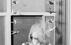 Living Room (brynnamberphotography) Tags: sad lost haze emotion origami smoke paper cranes window living room life feeling smoking faceless escape disappear selfportrait humanemotion monochrome blackandwhite