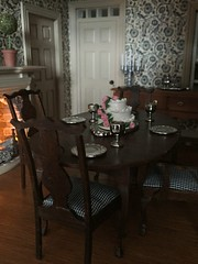 Refurbished Dining Table (Foxy Belle) Tags: dining room colonial dollhouse miniature table chairs early american claw feet fireplace pewter silver cake